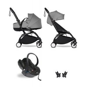 Babyzen - BU874 - Poussette tout-en-1 YOYO2 cadre noir siège auto nacelle et 6+ gris (454080)