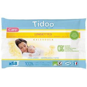 Tidoo - 3760001760187 - 58 lingettes bébé bio compostables sans parfum (454402)