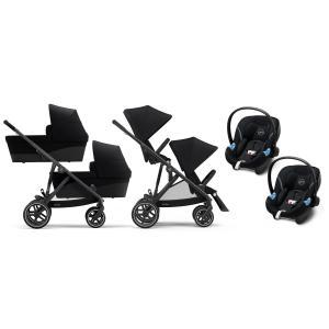 Cybex - BU430 - Poussette twin Gazelle S travel system, nacelles et sièges auto aton - Noir Deep black - noir (455990)