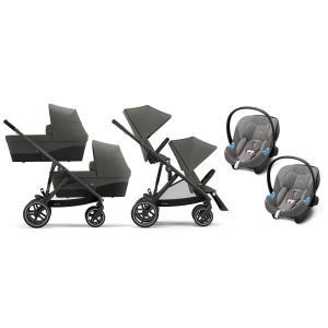 Cybex - BU431 - Poussette twin Gazelle S travel system, naccelles et sièges auto aton - Noir Soho grey - gris (455992)