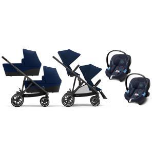 Cybex - BU432 - Poussette twin Gazelle S travel system, nacelles et sièges auto aton - Noir Navy blue - bleu (455994)