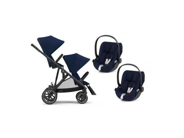 Poussette twin gazelle s avec sièges auto cloud - noir navy blue - bleu