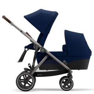 Cybex - BU454 - Poussette duo 2 enfants Gazelle S avec nacelle - Taupe Navy blue - bleu (456024)
