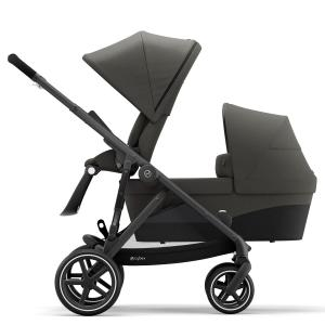 Cybex - BU456 - Poussette duo 2 enfants Gazelle S avec nacelle - Noir Soho grey - gris (456028)