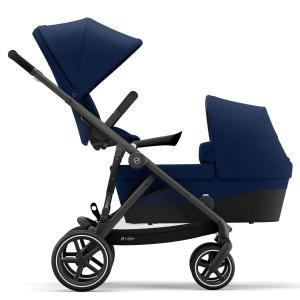 Cybex - BU457 - Poussette duo 2 enfants Gazelle S avec nacelle - Noir Navy blue - bleu (456030)