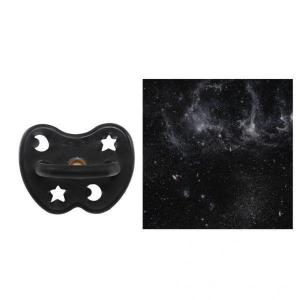 Hevea - 416216 - HEVEA Sucette 3 m+ caoutchouc naturel Outer Space Black/orthodontique/étoile & lune (456082)