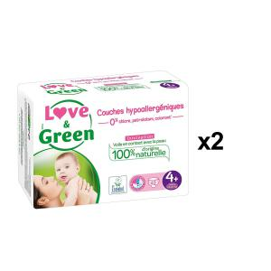 Love And Green - BU29 - Couches Bébé Hypoallergéniques 0% - Taille 4+ (9-20 kg) - X2 (456552)