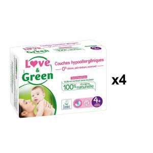Love And Green - BU30 - Couches Bébé Hypoallergéniques 0% - Taille 4+ (9-20 kg) - X4 (456554)