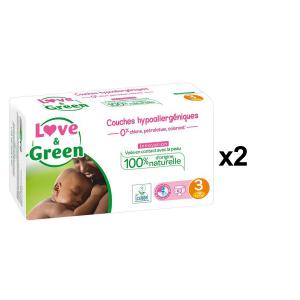 Love And Green - BU33 - Couches Bébé Hypoallergéniques 0% - Taille 3 (4-9 kg), 52 couches - X2 (456560)