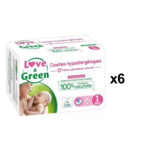 Love And Green - BU55 - Couches Hypoallergéniques 23 Couches Taille 1 (2-5 kg) - X6 (456604)