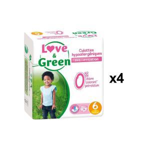 Love And Green - BU58 - Pack de 16 Culottes Hypoallergéniques - Taille 6 (+ de 16 kg) - X4 (456610)
