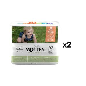 Moltex - BU9 - Pure et Nature - 33 Couches jetables Midi 4-9 kg - X2 (456640)
