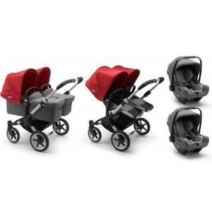 Bugaboo - BU365 - Pack poussette Donkey3 jumeaux, nacelles et sièges auto Turtle Air - gris chiné - rouge (456964)