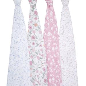 Aden and Anais - ASWC40007 - Pack de 4 maxi-langes grand format en mousseline de coton ma fleur (457034)