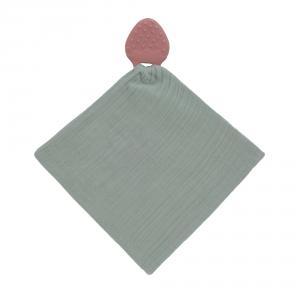 Lassig - 1313018615 - Doudou avec anneau de dentition caoutchouc naturel Fraise (457644)