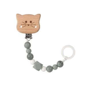 Lassig - 1313016108 - Attache sucette Bois et Silicone Little Chums Chat (457664)