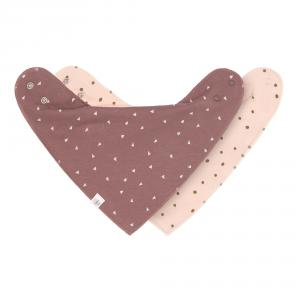 Lassig - 1531015985 - Lot de 2 bandanas Interlock, col bénitier, rose poudré / triangle cannelle (458006)