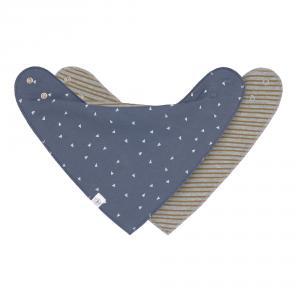 Lassig - 1531015986 - Lot de 2 bandanas Interlock, col bénitier, trainalgle bleu / rayé gris chiné (458008)
