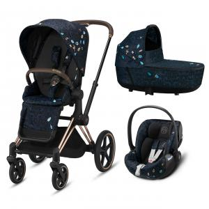 Cybex - BU532 - Poussette Priam rosegold, nacelle et siège auto Cloud Z I-size Jewels of Nature (458398)