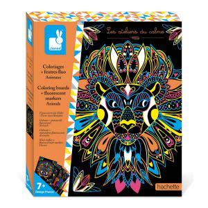 Janod - J07949 - Coloriages + feutres fluo animaux (458756)