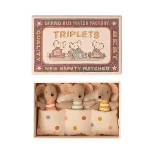 Maileg - 16-1710-01 - Bébés Souris, Les Triplés dans leur boîte à allumettes -  8 cm (460940)
