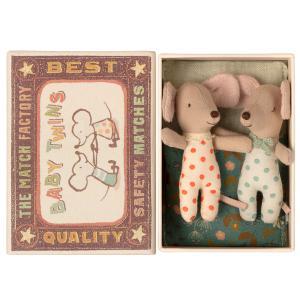 Maileg - 16-1711-01 - Bébés Souris, les jumeaux dans leur boîte à allumettes - 8 cm (461002)