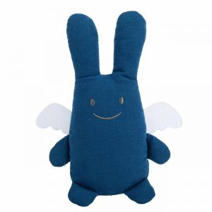 Trousselier - V1081 65 - Ange Lapin Doudou avec Hochet - Coton Bio bleu 20Cm (463556)
