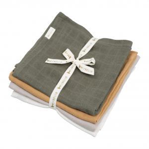 Fabelab - 2006238132 - Pack de 4 langes en mousseline olive (466972)