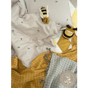 Fabelab - 2006238076 - Parure de lit pour bébé gris imprimé abeille 100x140 cm (467038)