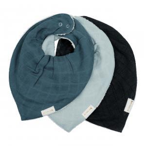 Fabelab - 2006238228 - Set de 3 bavoirs bandana en coton bleu (467052)