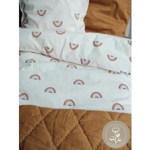 Fabelab - 2006237916-JR - Parure de lit pour bébé blanc imprimé arc-en-ciel 100x140 cm (467100)