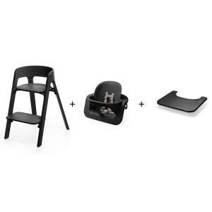 Stokke - BU414 - Pack chaise haute STEPS noir avec baby set et tablette (470862)