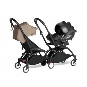 Babyzen - BU972 - Poussette double YOYO² 6+ Taupe, siège-auto - cadres noirs (470980)