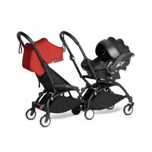Babyzen - BU974 - Poussette double YOYO² 6+ Rouge, siège-auto - cadres noirs (470984)