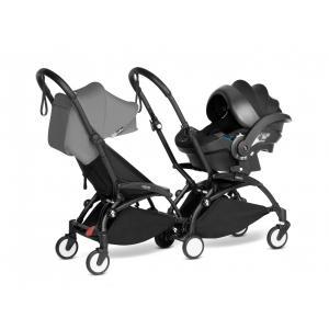 Babyzen - BU975 - Poussette double YOYO² 6+ Gris, siège-auto - cadres noirs (470986)