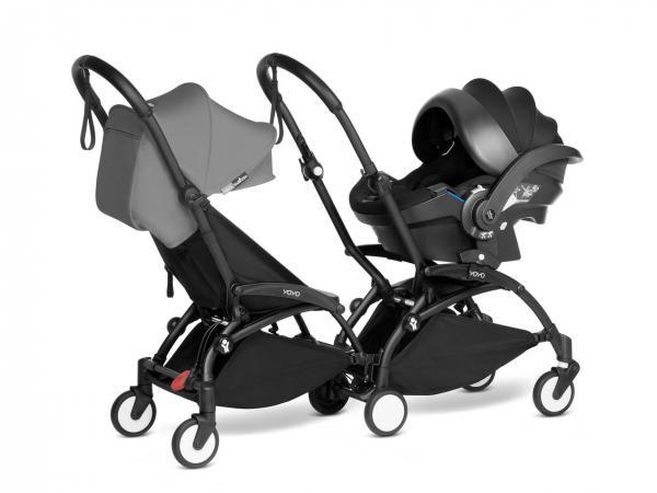Poussette double yoyo² 6+ gris, siège-auto - cadres noirs