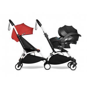 Babyzen - BU983 - Poussette double YOYO² 6+ Rouge, siège-auto - cadres blancs (471002)