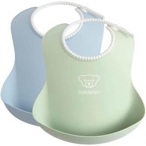 Babybjorn - 046344 - Lot de 2 bavoirs vert pastel / bleu pastel (471122)