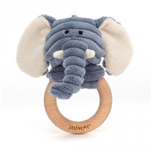 Jellycat - SR4WE - Cordy Roy Baby Elephant Wooden Ring Toy (471836)