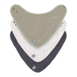 Lassig - 1312027988 - Lot de 3 bandanas en mousseline et éponge Vert-crème-marine (472960)