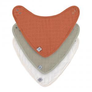 Lassig - 1312027989 - Lot de 3 bandanas en mousseline et éponge Rouille-vert-crème (472962)