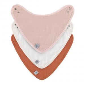 Lassig - 1312027994 - Lot de 3 bandanas en mousseline et éponge Rose clair-crème-rouille (472964)