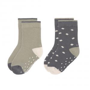 Lassig - 1532002995-19 - Lot de 2 chaussettes antidérapantes anthracite-vert 19-22 (472966)