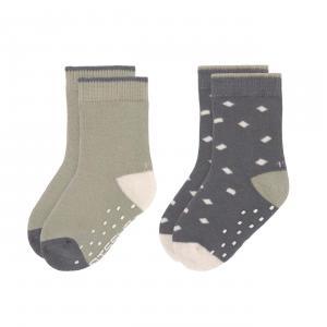 Lassig - 1532002995-23 - Lot de 2 chaussettes antidérapantes anthracite-vert 23-26 (472968)