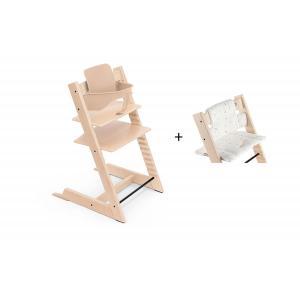 Stokke - BU439 - Chaise haute Tripp Trapp naturel, coussin Icon multicolor et babyset (473250)
