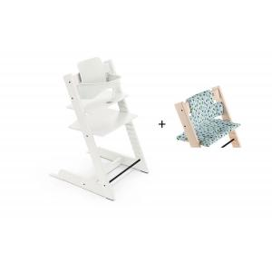 Stokke - BU444 - Chaise haute Tripp Trapp blanc, coussin Fox bleu et babyset (473260)