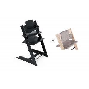 Stokke - BU446 - Chaise haute Tripp Trapp noir, coussin Icon gris et babyset (473264)