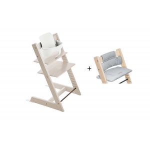Stokke - BU450 - Chaise haute Tripp Trapp cérusé, coussin Nordic bleu et baby set (473272)