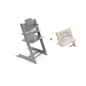 Stokke - BU452 - Chaise haute Tripp Trapp gris tempête, coussin Etoile grise et babyset (473276)