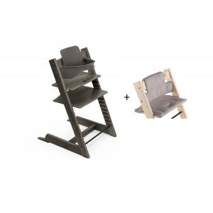 Stokke - BU455 - Chaise haute Tripp Trapp gris brume, coussin Icon gris et babyset (473282)